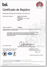 We guarantee to our customers that our activity is certified according to UNE-EN-ISO 9001:2008.